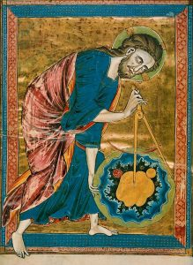 God the Architect of the Universe, Austrian National Library, Codex Vindobonensis 2554, f.1 verso, ca. 1220-30