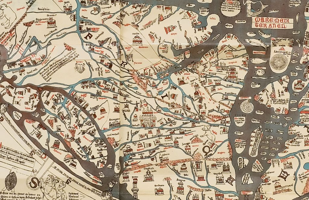 Continent of Europe, detail from the Hereford Map