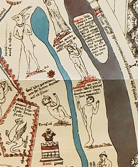 On the right, an Abiramon and a Sciopod in medieval Africa, detail from the Hereford Map